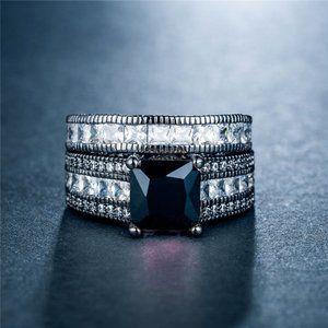 *NEW 18K Black Gold Princess Cut Diamond Ring Set